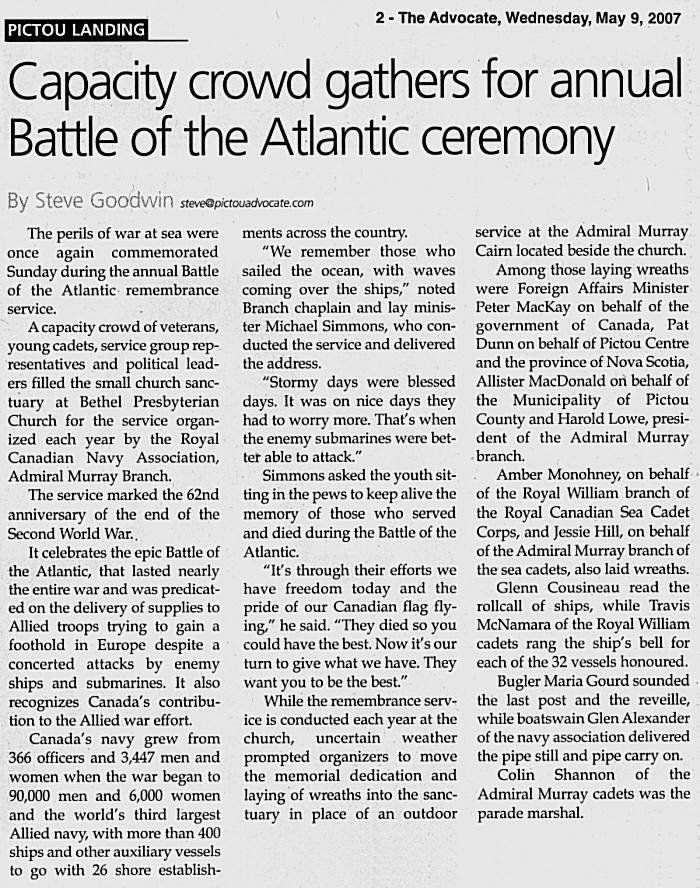 page 2, Pictou Advocate, 9 May 2007 -6