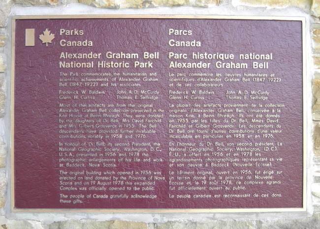 Plaque: Alexander Graham Bell National Historic Park