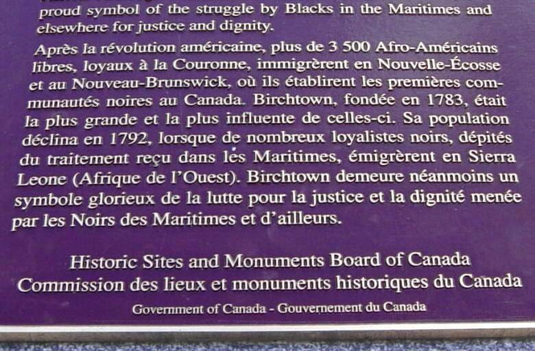 Black Loyalists Memorial, Birchtown: plaque, lower half