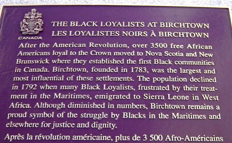 Black Loyalists Memorial, Birchtown: plaque, upper half