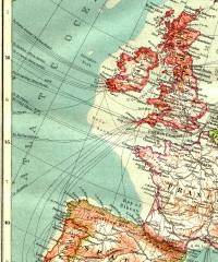 Underwater telegraph cables to and from Europe, 1911