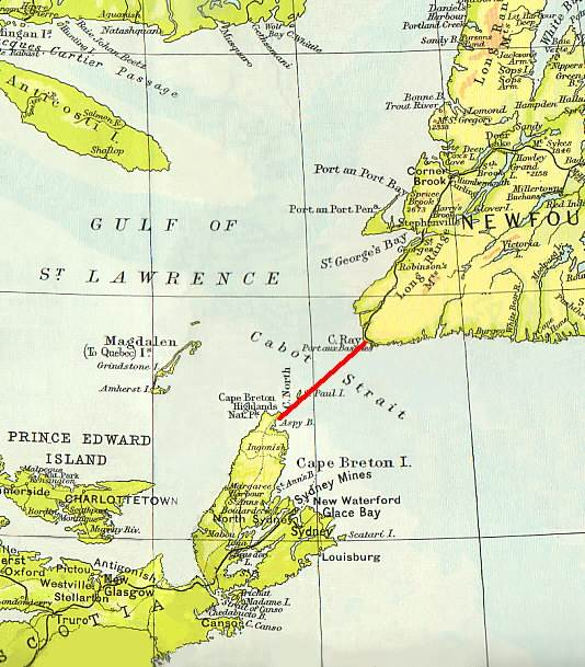 Cabot Strait: map showing location of the 1856 telegraph cable