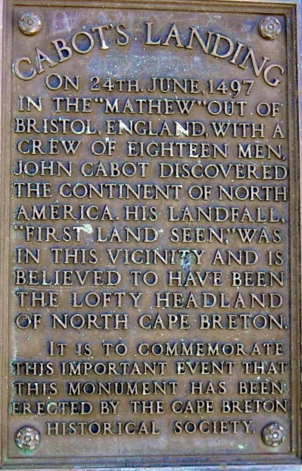 Plaque: John Cabot 1497