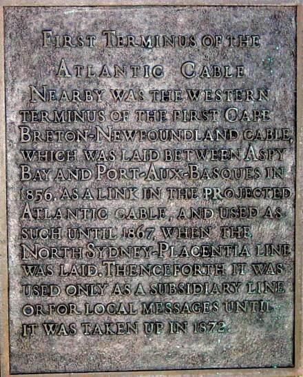 Cabot Strait cable: plaque