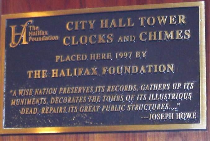 Halifax City Hall clocks and chimes 1997