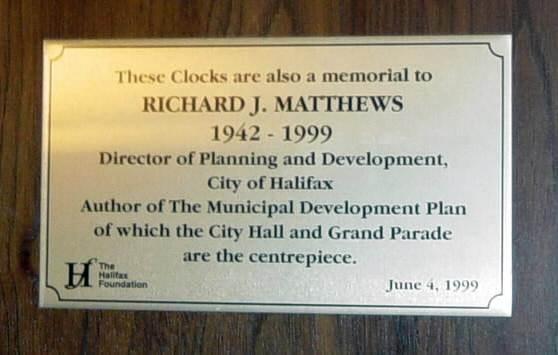 Clocks and Chimes Plaque 1999: Richard J. Matthews