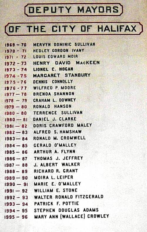 City of Halifax: deputy mayors, 1969-1996