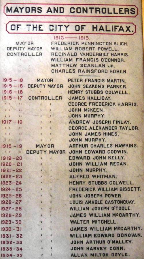 City of Halifax: mayors, deputy mayors, and controllers, 1913-1935
