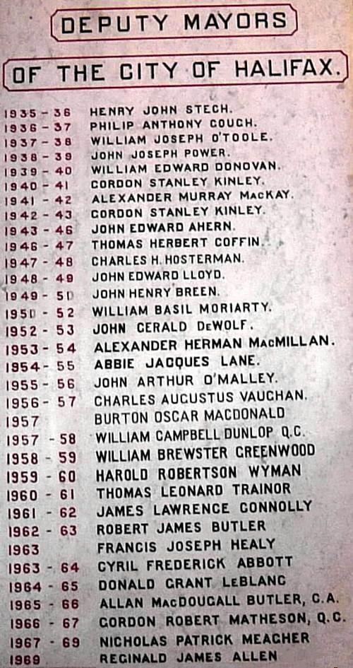 City of Halifax: deputy mayors, 1935-1969