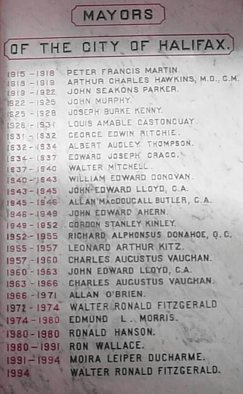 City of Halifax: mayors, 1915-1994