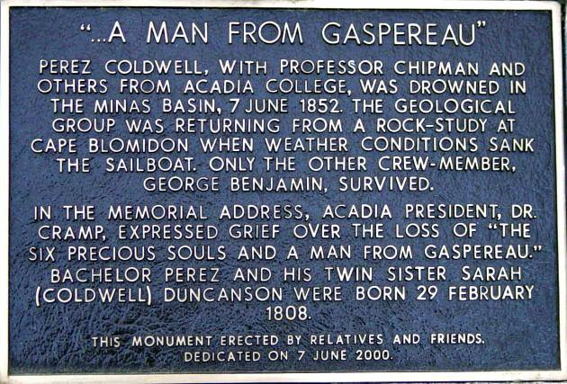 Perez Coldwell plaque, Gaspereau