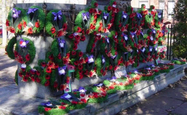 Cumberland County war memorial monument: East face after Rememberance Day 2005 -27