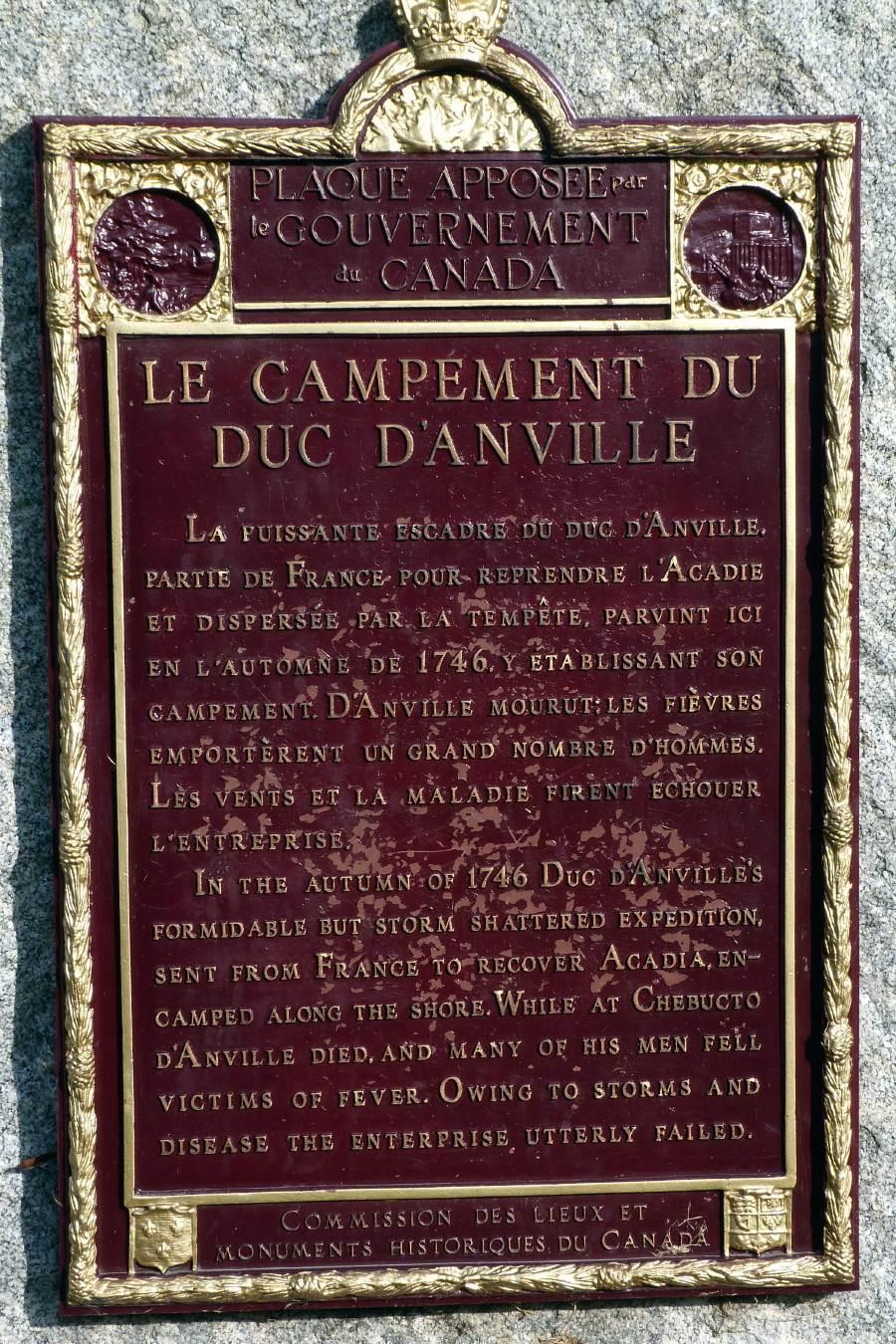 Rockingham: Duc d'Anville's Encampment 1746, historic plaque -5