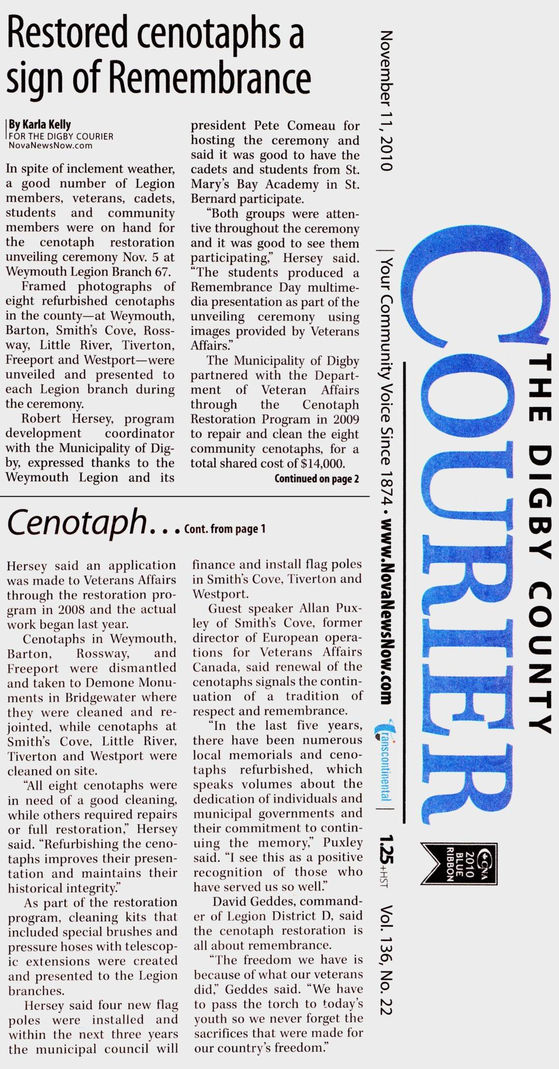 Clipping: Restored Cenotaphs a sign of Remembrance, The Digby County Courier, 11 Nov 2010