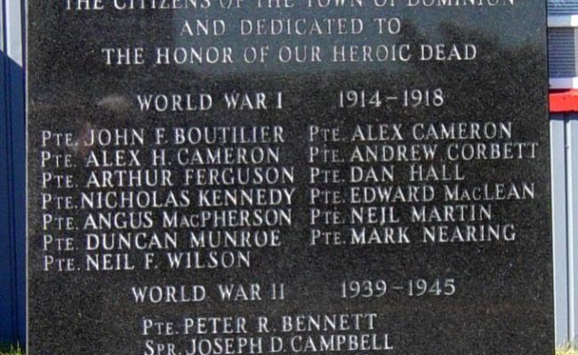 Dominion, Nova Scotia: war memorial monument -4