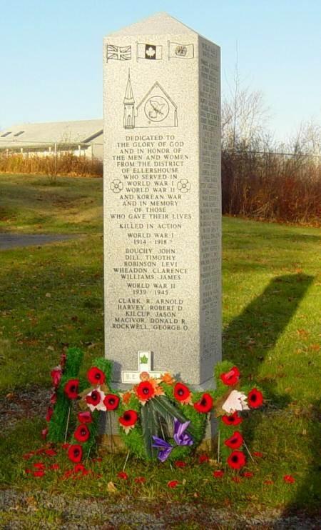 War memorial monument, Ellershouse: war memorial, after Rememberance Day 2005