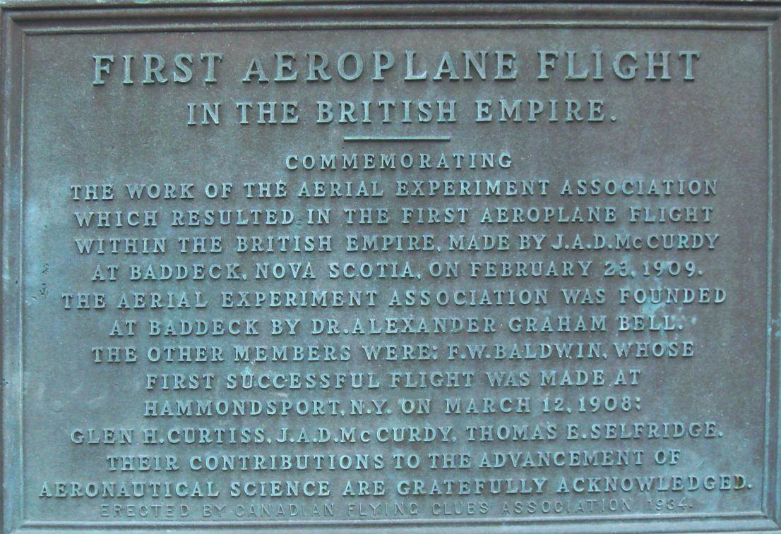 Baddeck, Nova Scotia: First Flight plaque