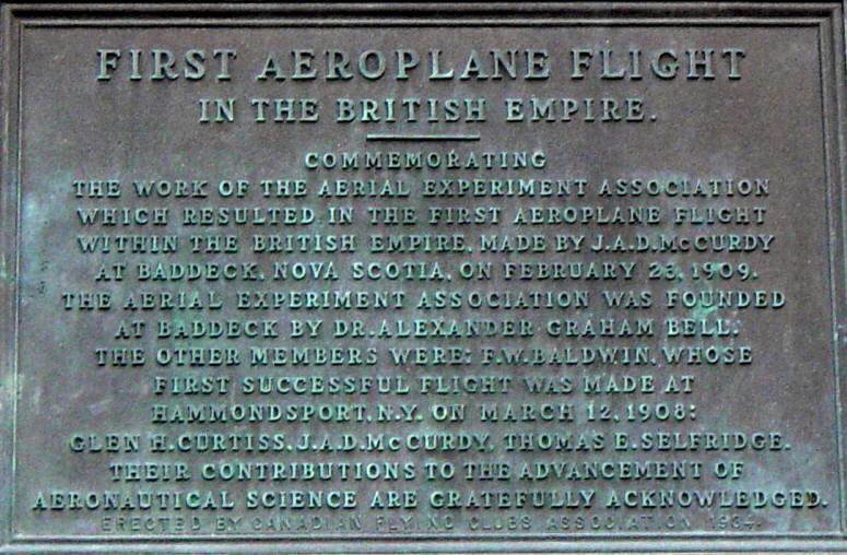 Baddeck Courthouse: First Flight plaque
