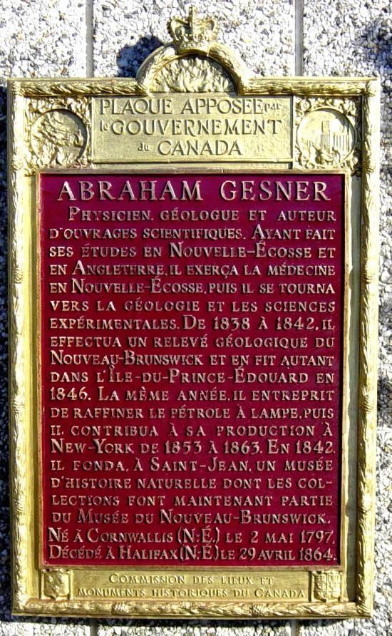 Abraham Gesner memorial plaque