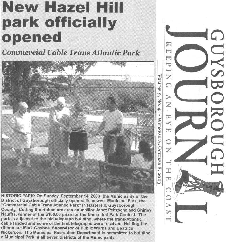 New Hazel Hill Park Officially Opened: Guysborough Journal, 8 Oct. 2003