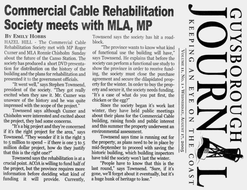 Commercial Cable Rehabilitation Society meets with MLA, MP: Guysborough Journal, 17 Aug. 2005