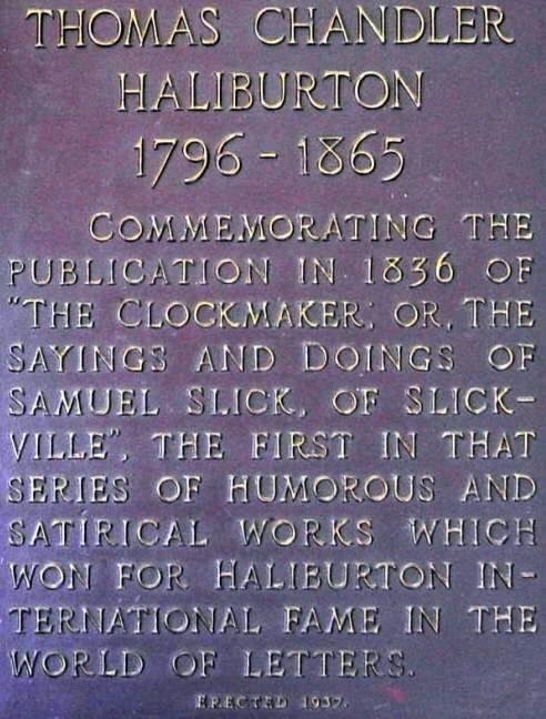 Windsor: T.C. Haliburton plaque, text