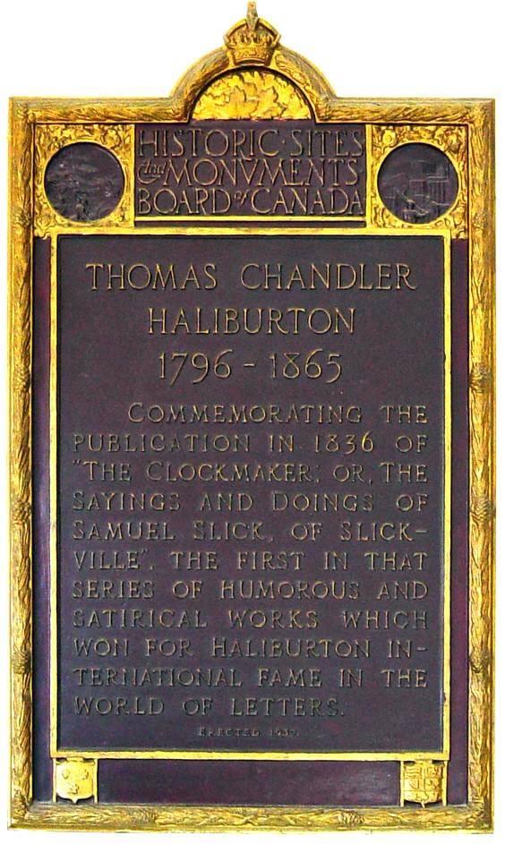 Windsor: T.C. Haliburton plaque, whole plaque
