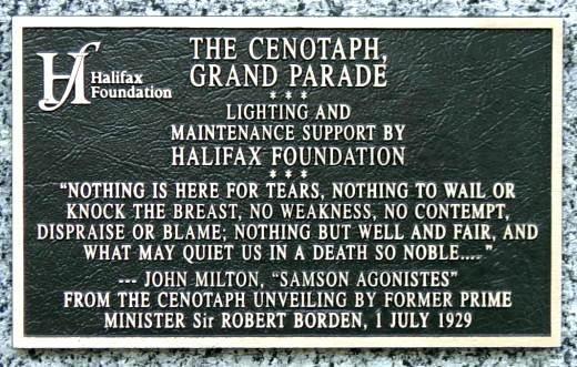 Plaque near the war memorial monument, Halifax