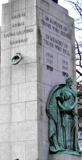 Halifax war memorial monument: inscriptions on the east and north faces