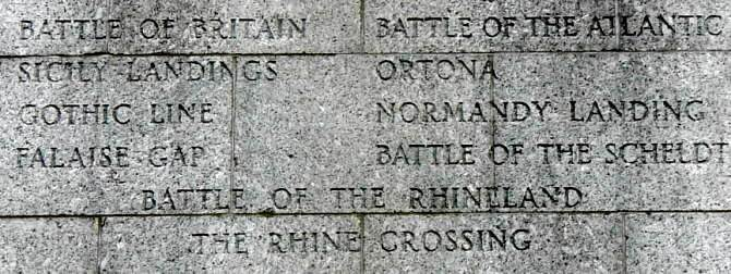 Halifax war memorial monument: upper inscription on the south face