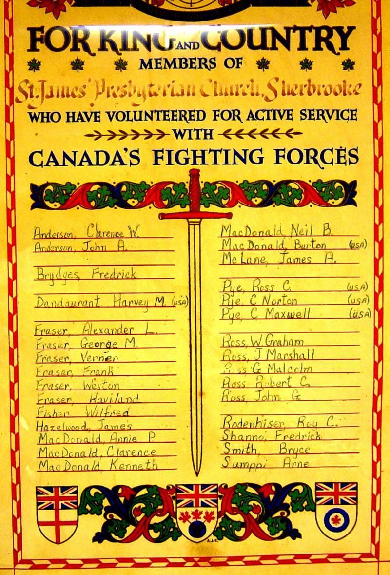 Sherbrooke: honour roll
