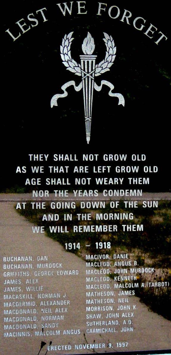 Indian Brook war memorial monument