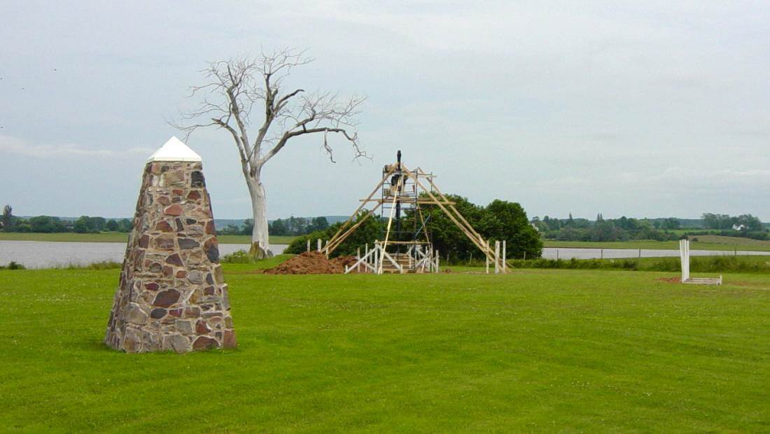 Horton Landing: The Iron Cross being installed at its new location