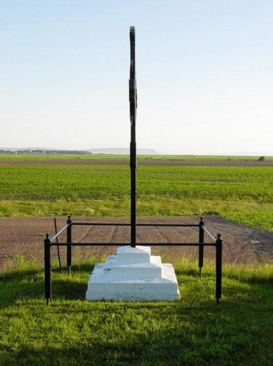 Horton Landing: Iron Cross monument looking northward with Cape Blomindon in the background