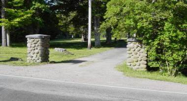 Woodlawn Cemetery entrance from Highway 8