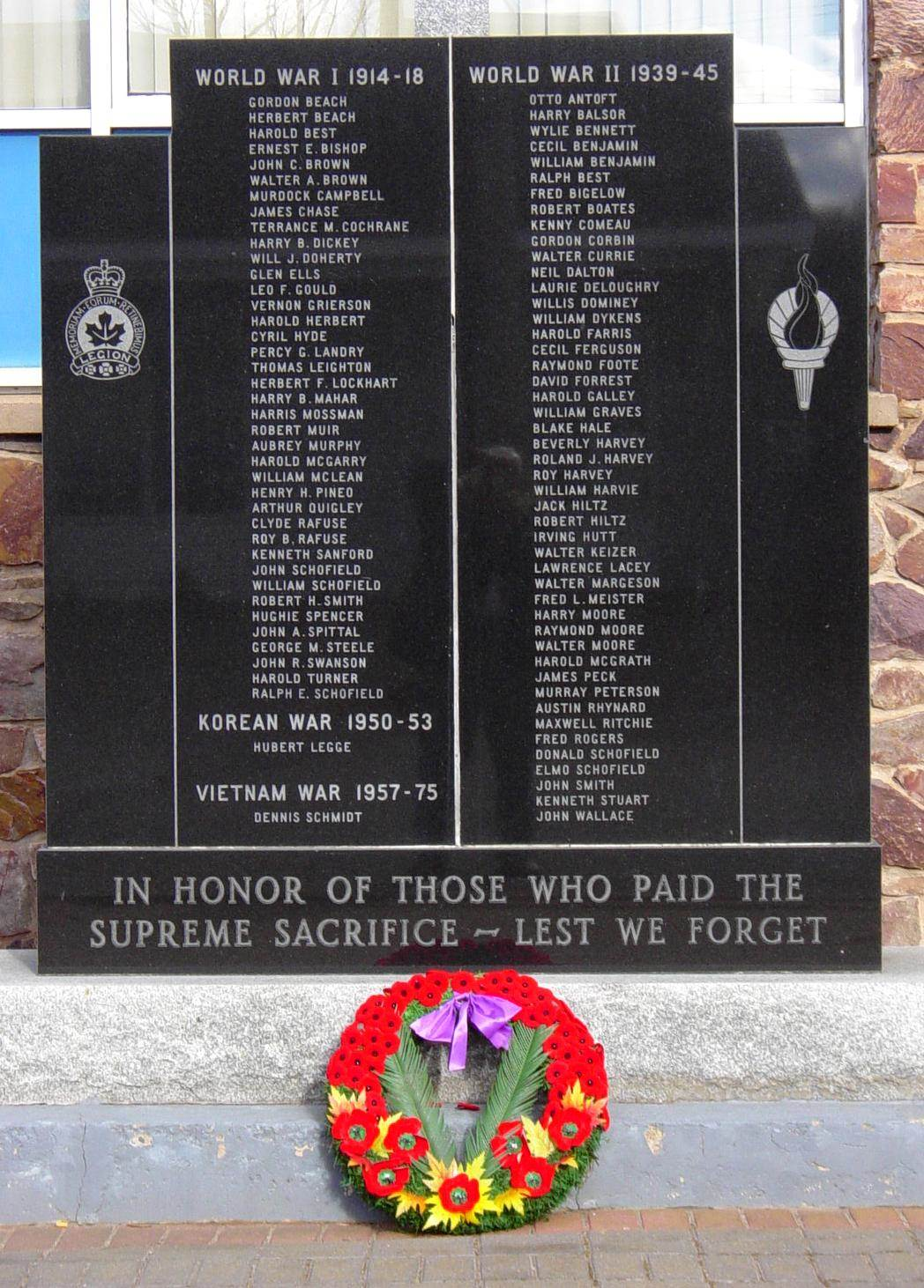Kentville Legion: war memorial