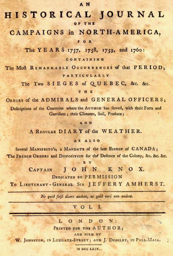 Title page: Historical Journal, by John Knox, 1769