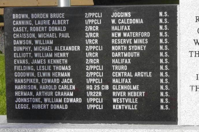Yarmouth: Korean War memorial, left side panel