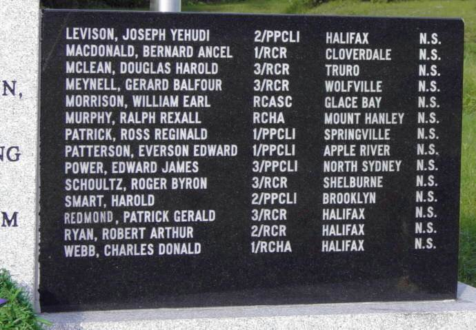 Yarmouth: Korean War memorial, right side panel