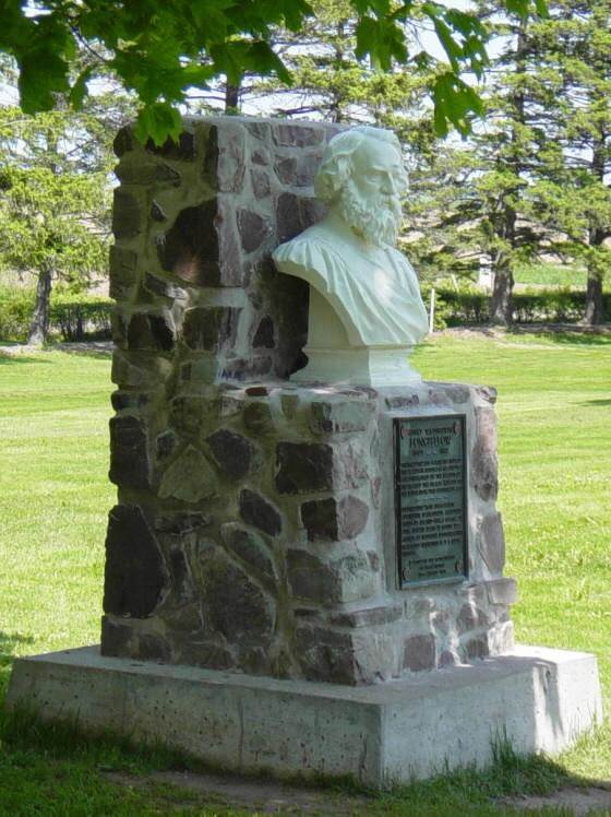 Monument commemorating H.W. Longfellow