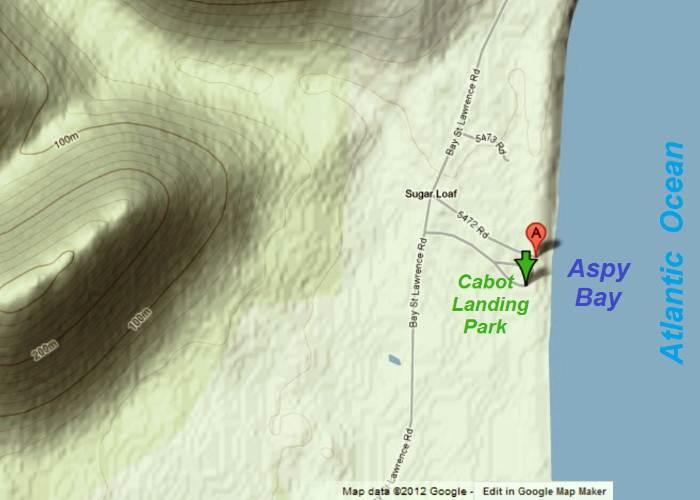 Map: Cabot Landing Park, Victoria County, Cape Breton Island, Nova Scotia