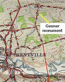 Map showing location of the Abraham Gesner monument -3