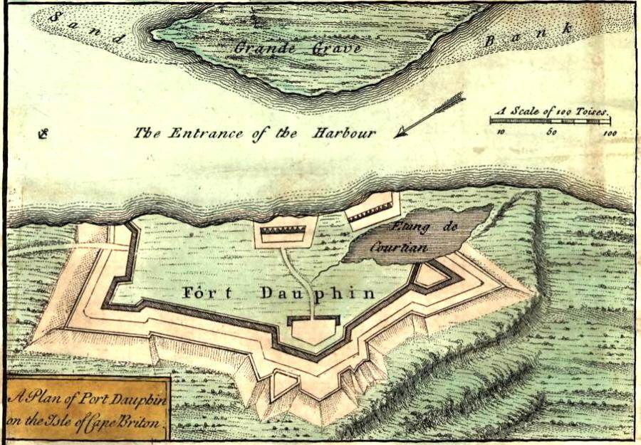 Port Dauphin, 1755 map of Fort Dauphin, Cape Breton Island