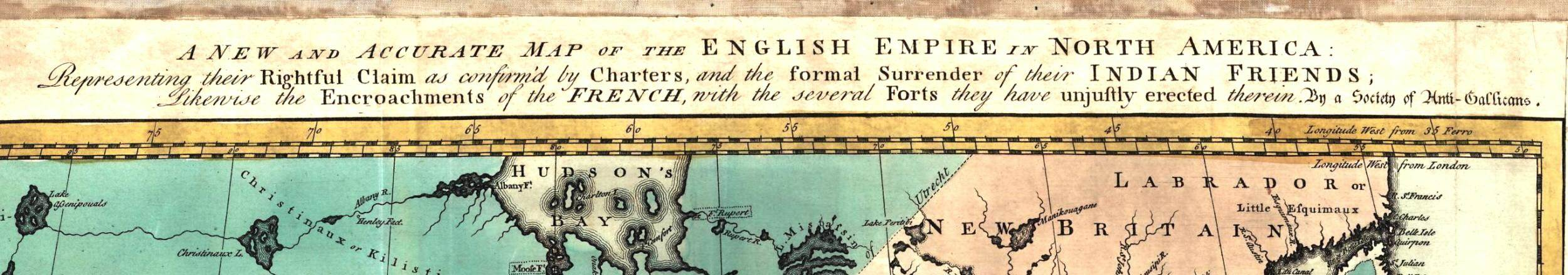 1755 map of the English Empire in North America