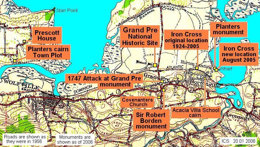 Horton Landing, Nova Scotia: Map showing location of the Iron Cross monument