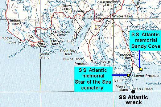 Map showing location of the S.S. Atlantic memorials