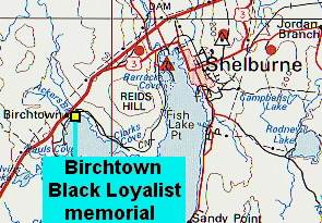 Location map: Black Loyalists Memorial, Birchtown
