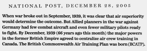 "National Post clipping, 28 Dec 2005: The first in a three-part excerpt from Ted Barris's book, ""Behind The Glory: Canada's Role in the Allied Air War"""