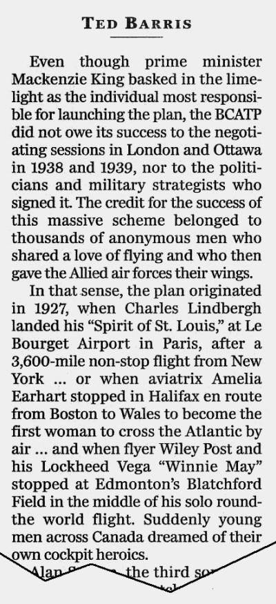 "National Post clipping, 29 Dec 2005: From the second in a three-part excerpt from Ted Barris's book, ""Behind The Glory: Canada's Role in the Allied Air War"""