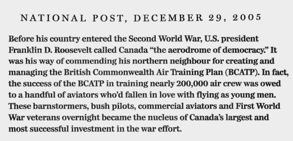 "National Post clipping, 29 Dec 2005: The second in a three-part excerpt from Ted Barris's book, ""Behind The Glory: Canada's Role in the Allied Air War"""